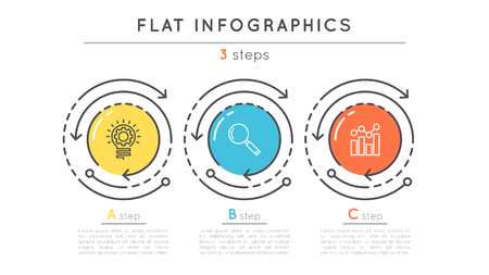 Flat style 3 steps timeline infographic template. Vettoriali