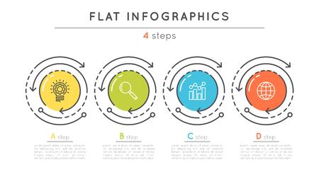 フラット スタイル 4 手順タイムライン インフォ グラフィック テンプレート。