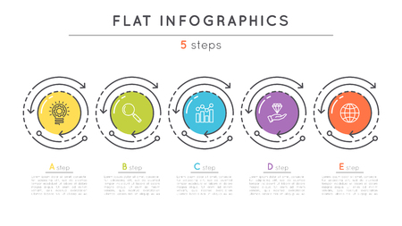 Flat style 5 steps timeline infographic template. Ilustração