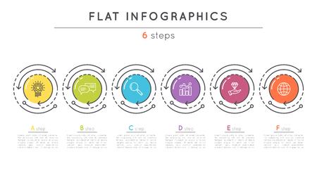 Flache Stil 6 Schritte Timeline Infografik Vorlage. Vektorgrafik