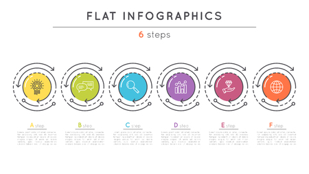 Flat style 6 steps timeline infographic template.