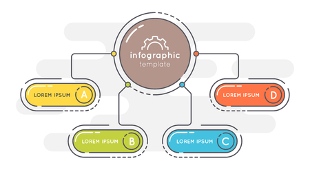 Flat style 4 options presentation infographic template. Illustration