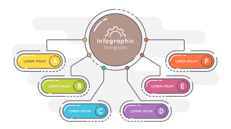 Flat style 6 options presentation infographic template.