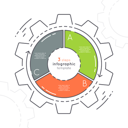 Gear shaped flat style infographic template with 3 steps.
