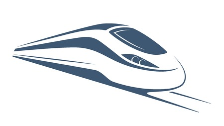 Modern high speed train emblem, icon, label, silhouette. Ilustrace