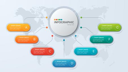 プレゼンテーション ビジネス インフォ グラフィック テンプレート 7 オプションを使用します。  イラスト・ベクター素材