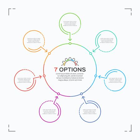 7 가지 옵션이있는 최소 스타일 서클 인포 그래픽 템플릿.