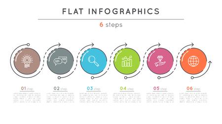 플랫 스타일 6 단계 타임 라인 infographic 템플릿.