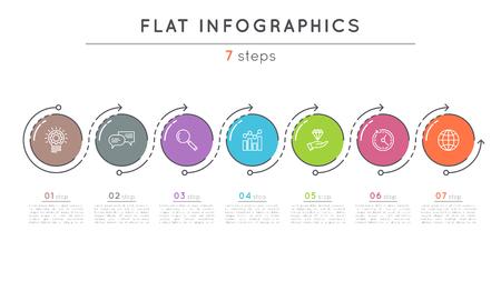 플랫 스타일 7 단계 타임 라인 infographic 템플릿.