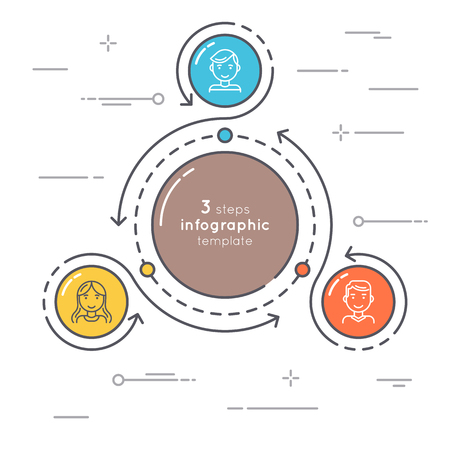 Flat style 3 steps circle infographic template. Thin line busine Illustration