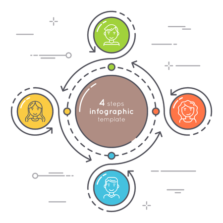 Flat style 4 steps circle infographic template. Thin line busine Illustration