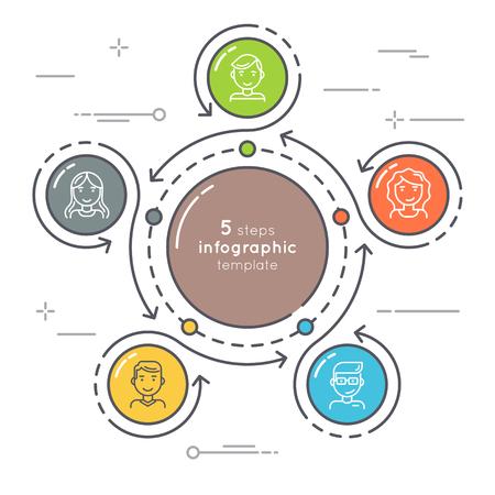 Estilo plano 5 pasos círculo plantilla de infografía. Línea de negocio delgada Foto de archivo - 81237324