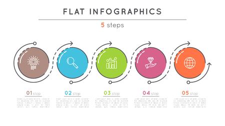 플랫 스타일 5 단계 타임 라인 infographic 템플릿. 일러스트