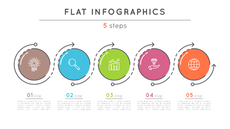 Flat style 5 steps timeline infographic template. Ilustrace