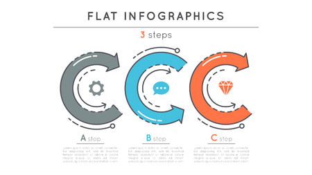 Flat style 3 steps timeline infographic template. Ilustrace
