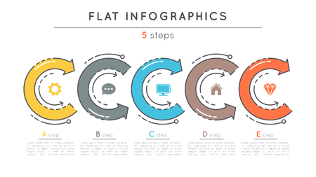 Flat style 5 steps timeline infographic template. 向量圖像