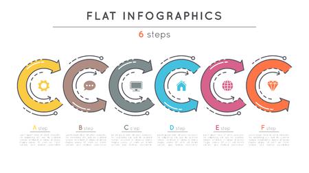 Modèle infographique de plan de style à 6 étapes. Banque d'images - 81227997