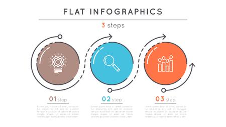 플랫 스타일 3 단계 타임 라인 infographic 템플릿. 스톡 콘텐츠 - 81227998