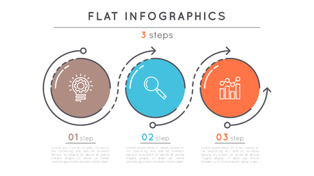 Flat style 3 steps timeline infographic template. Illustration