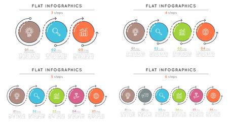 플랫 스타일 3-6 단계 타임 라인 infographic 템플릿 세트.