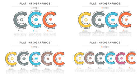 Set of flat style 3-6 steps timeline infographic templates
