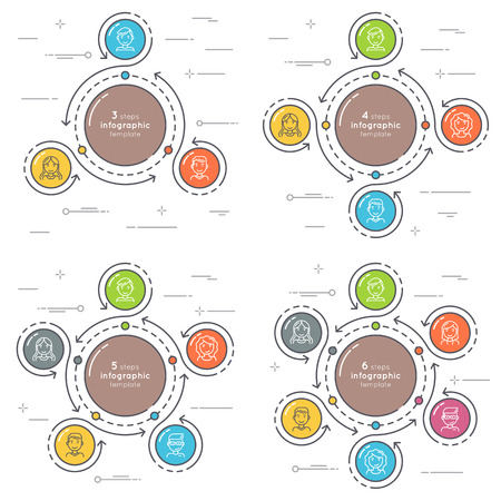 Set of flat style 3-6 steps circle infographic template.
