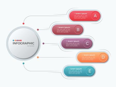 Presentatie zakelijke infographic sjabloon met 5 opties. Stockfoto - 81623519