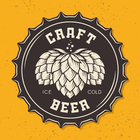Illustratie van ambachtelijke bierfles dop met hop Stock Illustratie