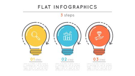 플랫 스타일 3 단계 타임 라인 infographic 템플릿. 일러스트