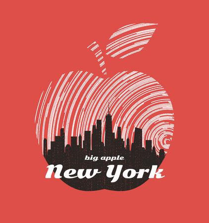 New York big apple t-shirt graphic design with city skyline. Illusztráció