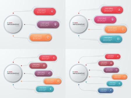 Set di modelli di presentazione aziendale con 3-6 opti Vettoriali