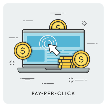 Pay per click. Thin line concept. Illustration