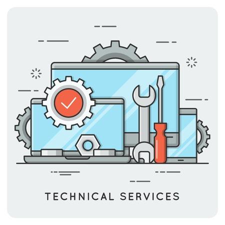 技術的なサービス。細い線の概念。