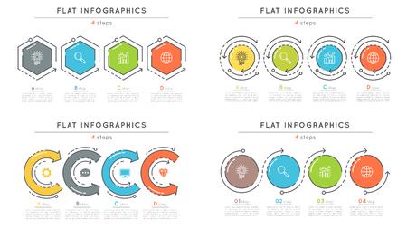 플랫 스타일 4 단계 타임 라인 infographic 템플릿 세트. 일러스트