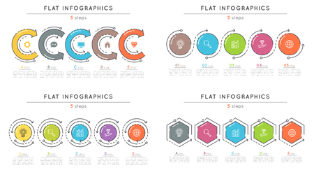 Set of flat style 5 steps timeline infographic templates.