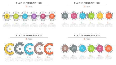 플랫 스타일 6 단계 타임 라인 infographic 템플릿 세트. 일러스트