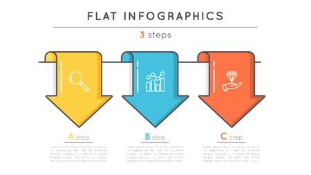 Flat style 3 steps timeline infographic template. Thin line busi