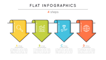 Flat style 4 steps timeline infographic template. Thin line busi