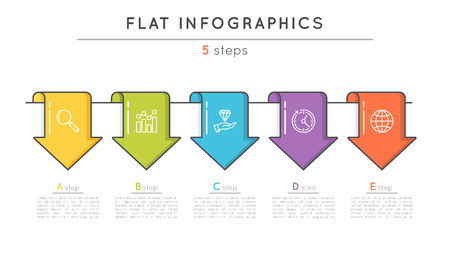 Flat style 5 steps timeline infographic template. Thin line busi Illustration