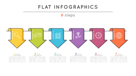 Flat style 6 steps timeline infographic template. Thin line busi