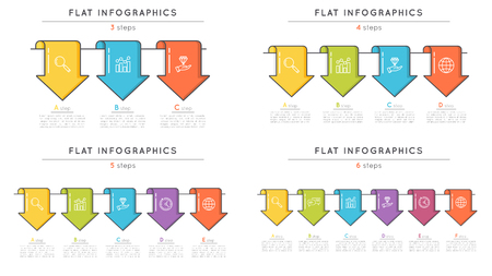 Set of flat style timeline infographic templates with arrows. Th