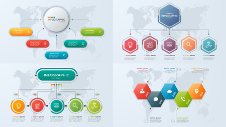 Set of presentation business infographic templates with 5 option