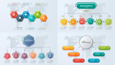 Set presentatie zakelijke infographic sjablonen met 6 optie Stock Illustratie
