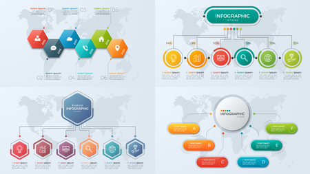 Set of presentation business infographic templates with 6 option