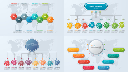 Set of presentation business infographic templates with 8 option