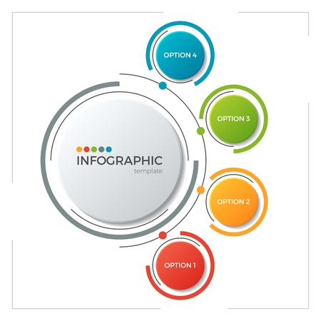 Cirkelgrafiek infografisch sjabloon met 5 opties