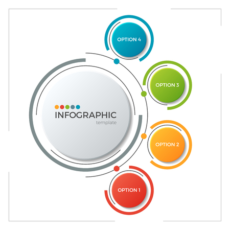 Kreisdiagramm Infografische Vorlage mit 5 Optionen Standard-Bild - 83384532
