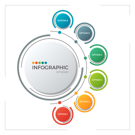 Circle chart infographic template with 6 options