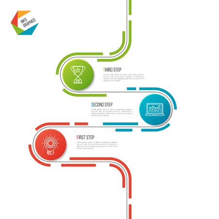 Abstract 3 steps road timeline infographic template. 向量圖像