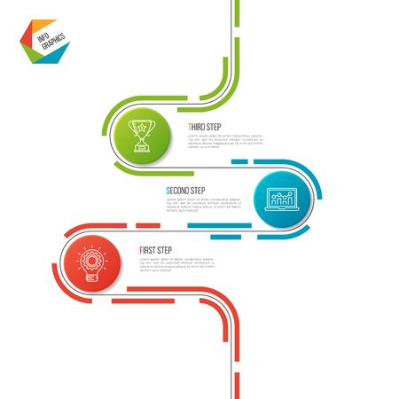 Abstract 3 steps road timeline infographic template. Ilustração